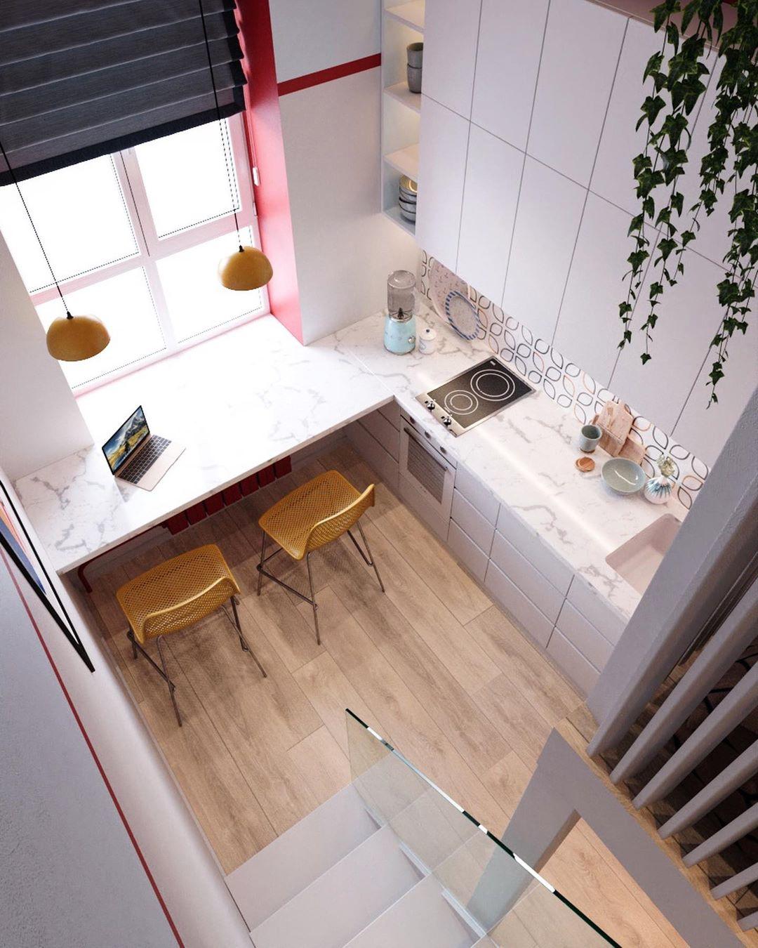 Дизайн-проект маленькой двухуровневой квартиры-студии 17,6 кв.