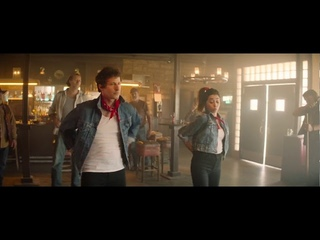 Dance scene from Palm Springs movie with Andy Samberg and Cristin Milioti the one in the bar