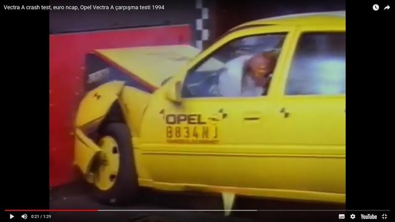 Vectra A crash test euro ncap Opel Vectra A çarpışma testi
