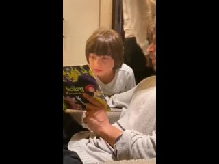 Listening to scary' stories. Birthday celebrations with his favourite book, his favourite
