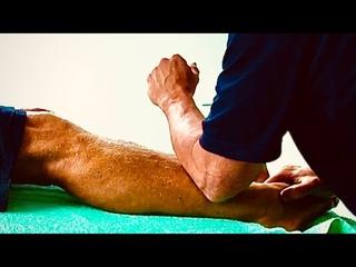 Deep leg massage using elbows and deep reflexology foot massage using tools. Adrian part 11
