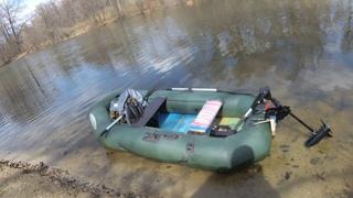 Электромотор для лодки Watersnake SXB54/26 (Venom) Распаковка и тест на воде на автомобильном акуме