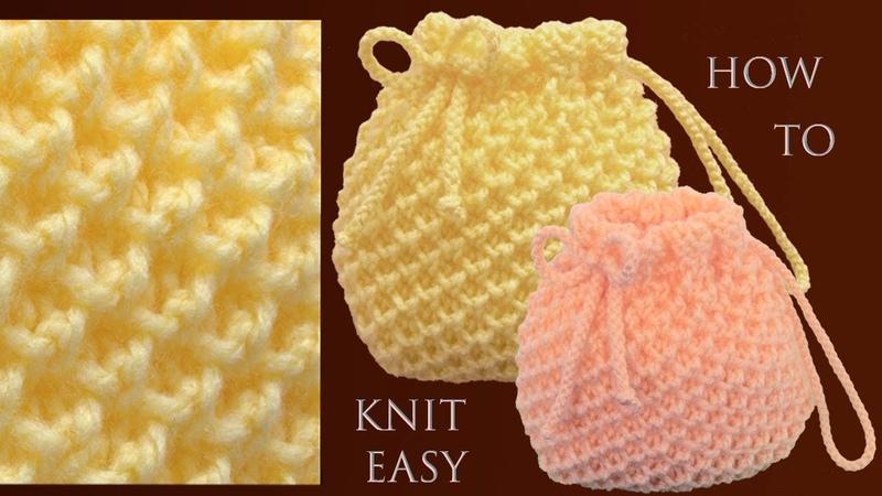 Bolso fácil tejido paso a paso punto 3D Panal o Nido de Abeja a dos agujas para principiantes