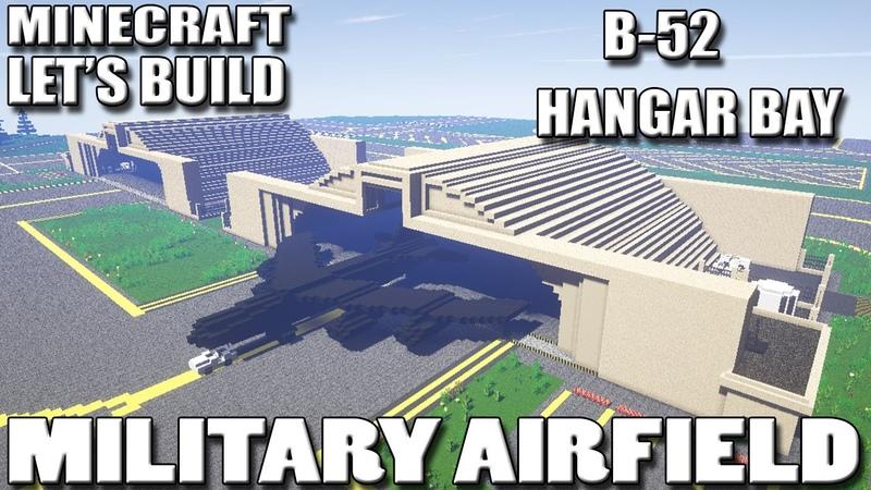 Minecraft Lets Build Military Airfield B52 Hangar Bays EP17
