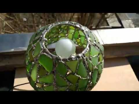 Green sea stained glass lamp making